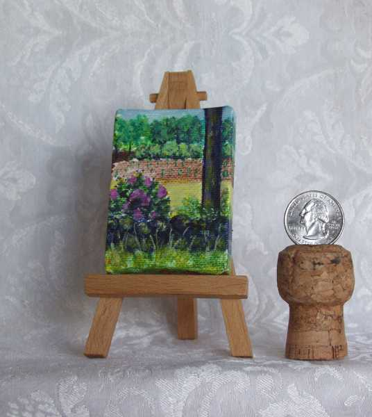 Just Planted miniature acrylic painting on easel by artist DJ Geribo