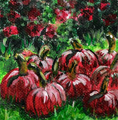 Pumpkins for Sale miniature acrylic painting on easel by artist DJ Geribo