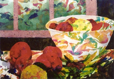 Vegetable Soup original mixed media collage by artist Fay Lee