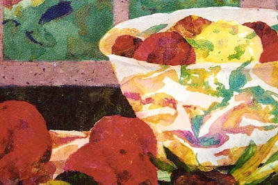 Vegetable Soup original mixed media collage by artist Fay Lee - detail