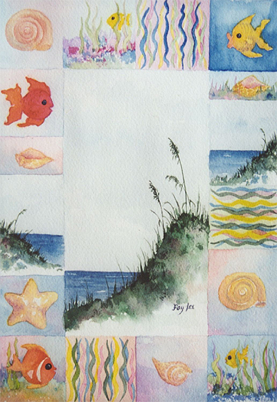 Fish and All II original watercolor painting by artist Fay Lee