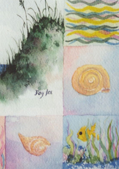 Fish and All II original watercolor painting by artist Fay Lee - detail