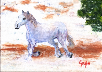 White Horse Running - Daily Paintings Animals by artist DJ Geribo