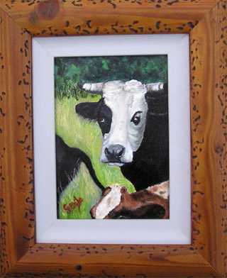 The Boss Original Miniature Oil Painting by artist DJ Geribo arrives framed and ready-to-hang