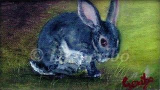 Clean Bunny Original Miniature Oil Painting by artist DJ Geribo detail