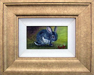 Clean Bunny Original Miniature Oil Painting by artist DJ Geribo arrives framed and ready-to-hang
